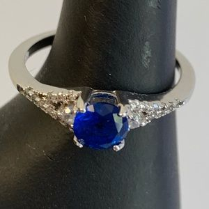 Sapphire and Crystal Ring Size 7